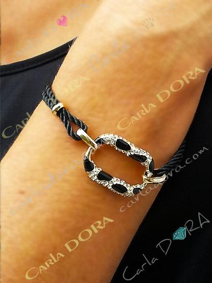 bracelet noir et panthere strass