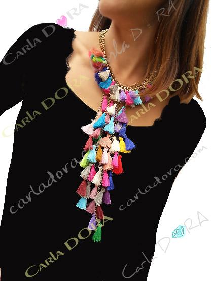 collier sautoir pompons multicolres multi rangs, bijou sautoir femme hippie chic cascade de pompons