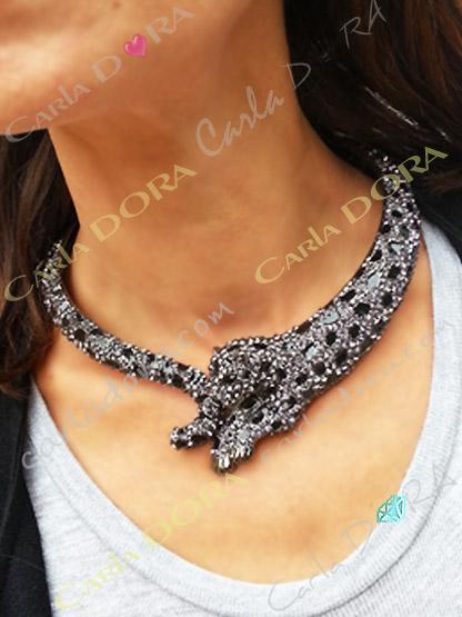collier fantaisie ultra chic tete leopard - bijou femme cristal elegant et chic tete panthere