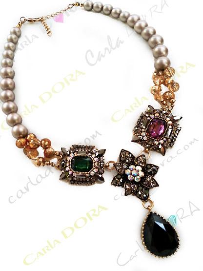 collier fantaisie femme ultra chic cabochons   - bijou femme cristal elegant et chic