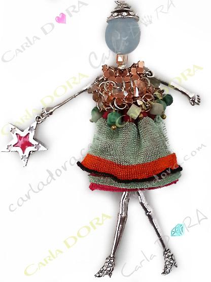 collier sautoir poupee robe fantaisie, poupee articulee collier sautoir