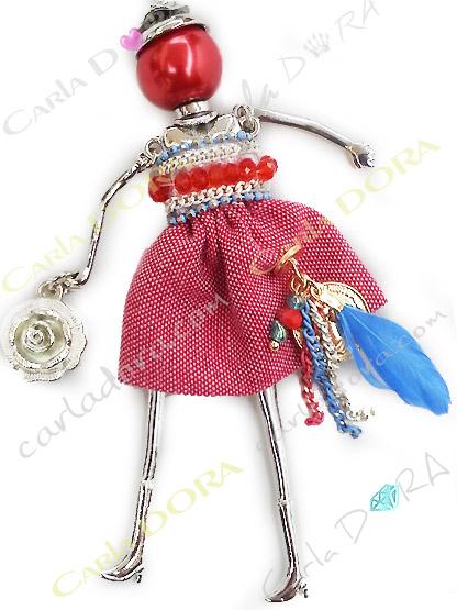 collier sautoir poupee fantaisie en jean rouge