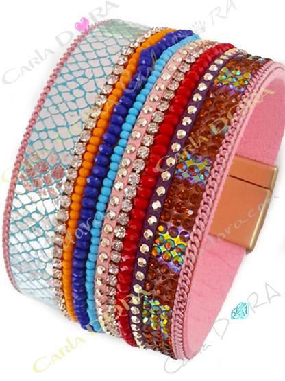 bracelet femme manchette multicolore strass , bracelet imprime serpent chic strass