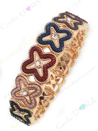 bracelet elastique vintage metal strass