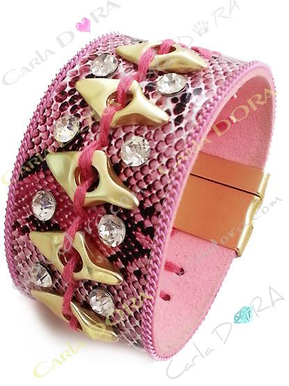 bracelet femme manchette python rose metal or clair et strass, bracelet imprime serpent chic strass