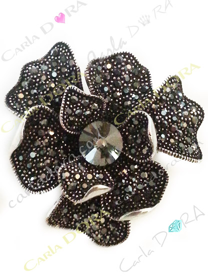 broche fleur metal argent cristal gris anthracite, broche fantaisie fleur