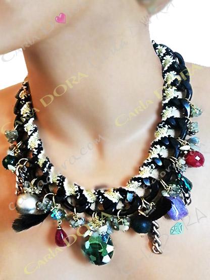 collier femme grosse chaine noire tissee pampilles multicolres et multi formes, collier ras du cou fantaisie