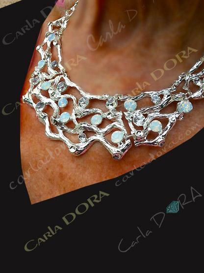 collier bijou ras de cou rigide strass irises, collier ras du cou femme