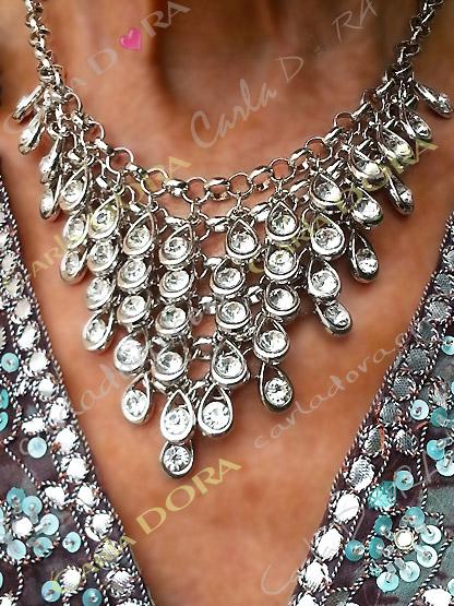 bijoux fantaisie collier pampilles argent strass blancs, collier fantaisie femme couleur argent