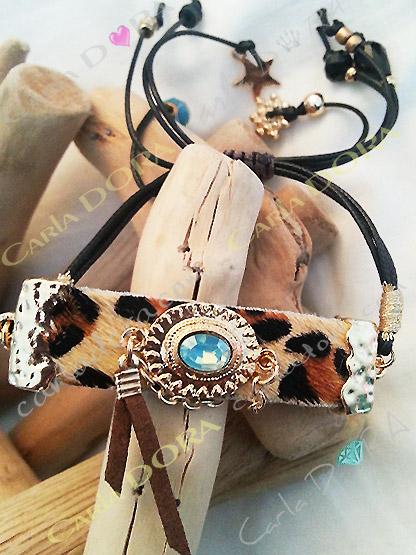 bracelet leopard hippie chic souple, bracelet fantaisie souple hippie chic femme