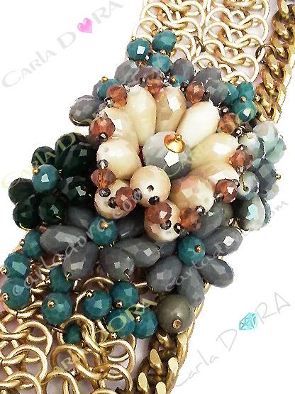 bracelet pampilles perles cristal bleu gris beige, bracelet pampilles perles taillees et cristal -bracelet tendance femm