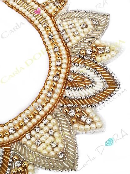 collier ethnic chic fantaisie femme or argent perles de culture et strass blancs
