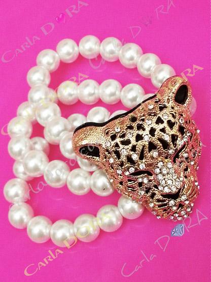 ensemble 3 bracelets tete leopard perles culture, ensemble de 3 bracelets elastiques perles de culture tete de panthere