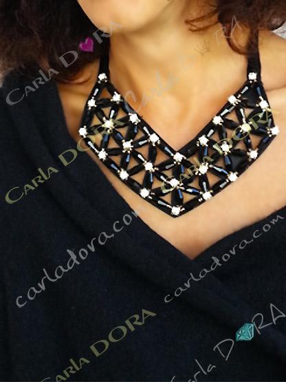 collier ras du cou de soiree noir et strass - bijou femme elegante et chic