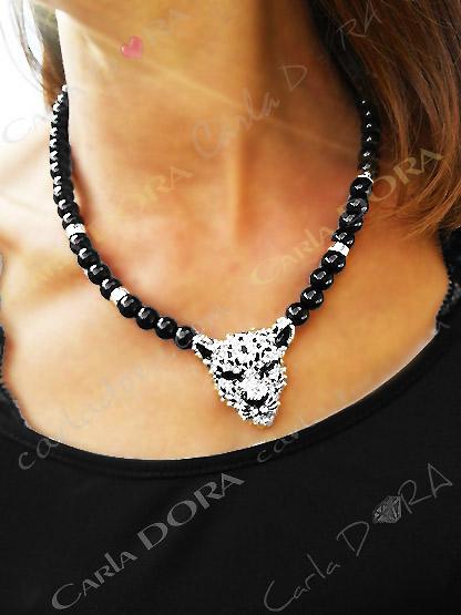 collier fantaisie femme ultra chic tete leopard - bijou femme cristal elegant et chic tete panthere