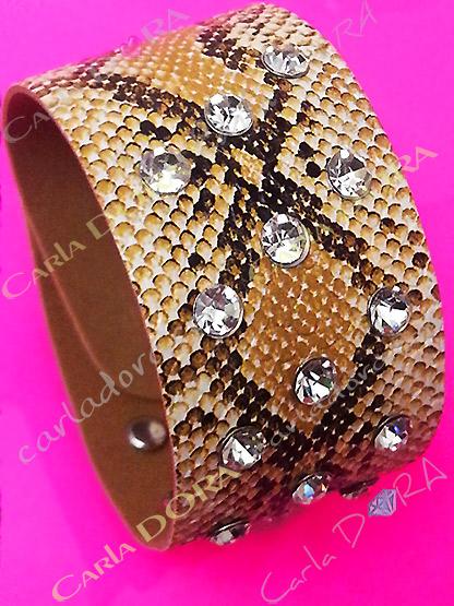 bracelet manchette python strass beige naturel, bracelet imprime serpent chic strass