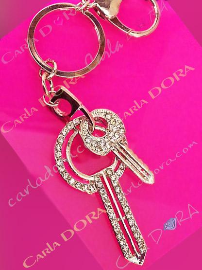 porte clef bijou de sac clef argent strass