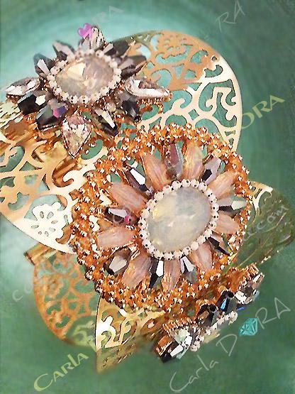 bracelet femme manchette metal or et cristal