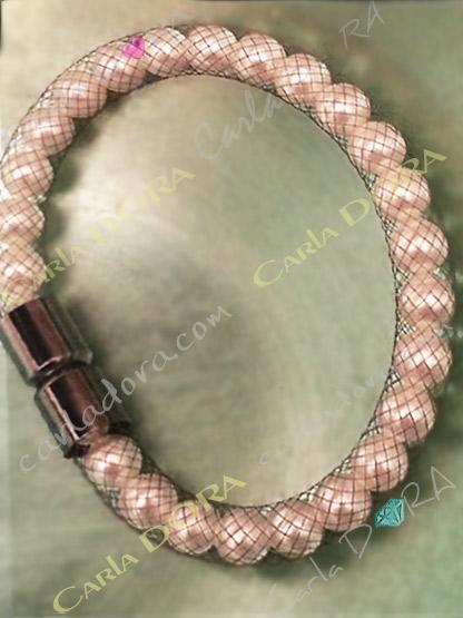 bracelet resille et perles de culture fermeture aimantee