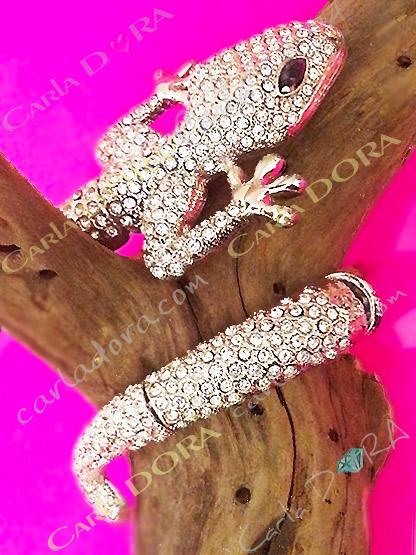 bracelet lezard strass ouvert facile a mettre, bijoux bracelet fantaisie femme tendance strass