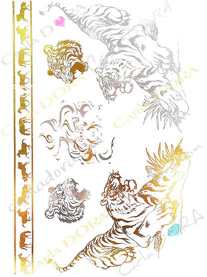 tattoo feuille or et argent tigre et tete de tigre, bijoux ephemeres bijou de peau or et argent tatouage corps