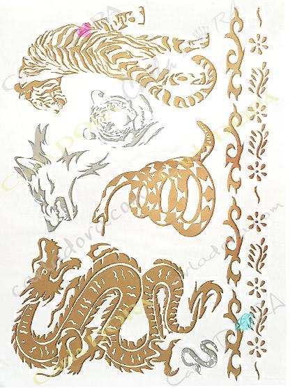 tattoo metal or tigre et dragon serpent et loup , bijoux ephemeres bijou de peau or et argent tatouage corps