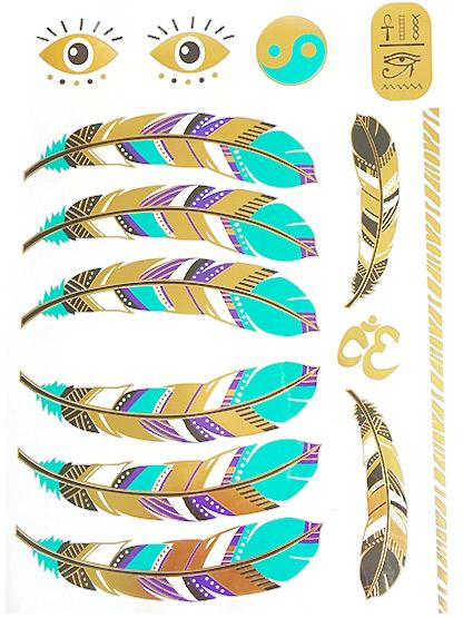 tatouage plume metal amerindien apache dore bleu turquoise noir