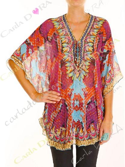 tunique femme fluide fashion motif rouge bas arrondi, top femme tunique fluide