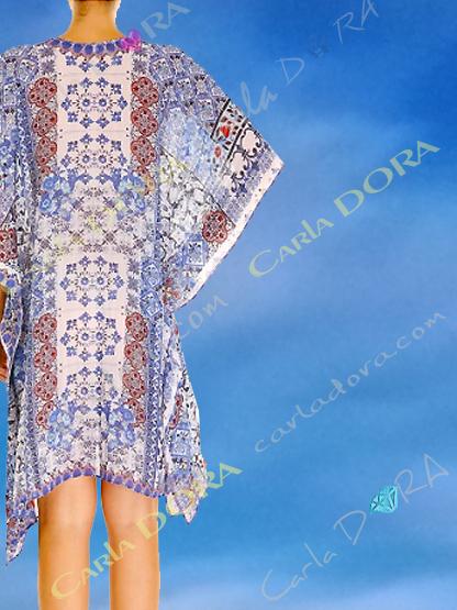 caftan long femme de plage motif bleu jean, tunique longue pour femme tendance