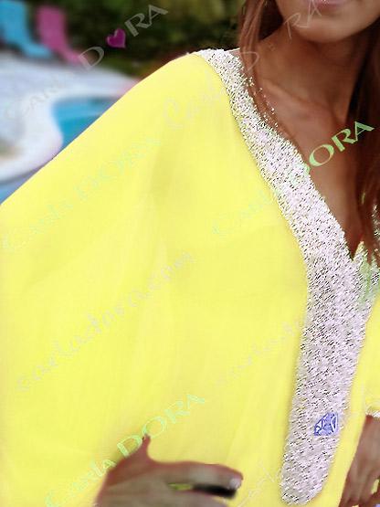 poncho jaune de star perles argent, poncho tunique chic moderne pour ceremonie soiree mariage