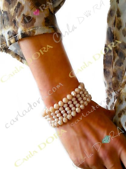 bracelet elastique perles cristal 5 rangs, bracelet fantaisie femme elastique  perles cristal a facettes