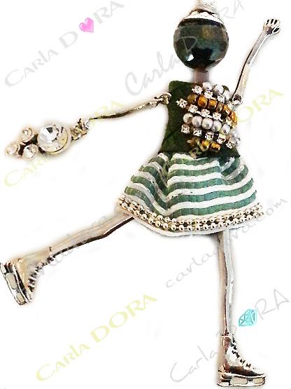 sautoir poupee patineuse collier fantaisie, collier fantaisie glamour