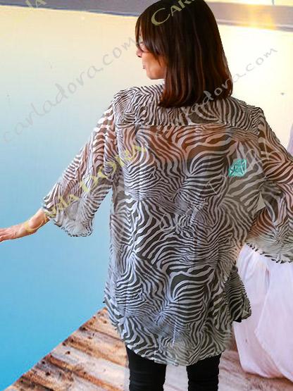 tunique chemise femme fluide grise zebree col mao,chemise glamour motif zebre