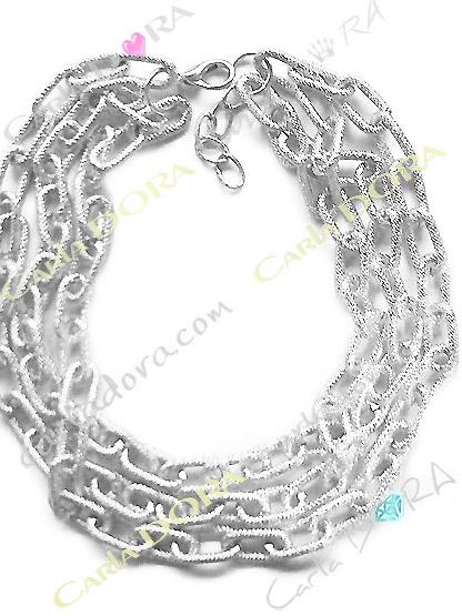 collier fantaisie femme 3 rangs argentes anneaux souples entrelaces, collier chaine argent 3 rangs