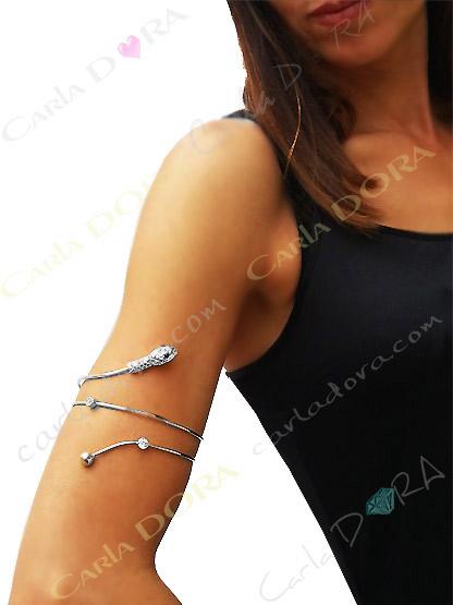 bracelet femme brassard serpent metal argent bijoux fantaisie femme