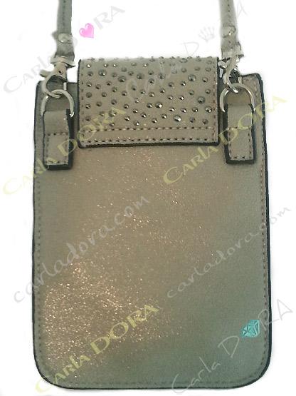 pochette telephone smartphone grand format gris argent irise et strass gris