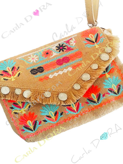 sac femme gypsy chic paille brodee corail fluo bleu turquoise