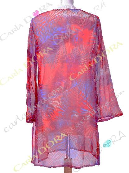 tunique femme vacances rouge et bleu, tunique femme fluide fashion plage