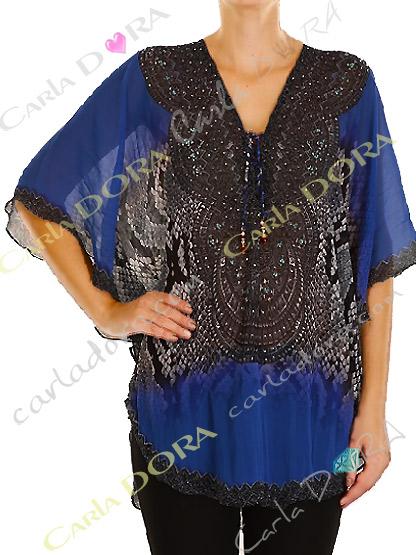 tunique femme voile  bleu nuit et noir bas arrondi, femme tunique chic a la mode