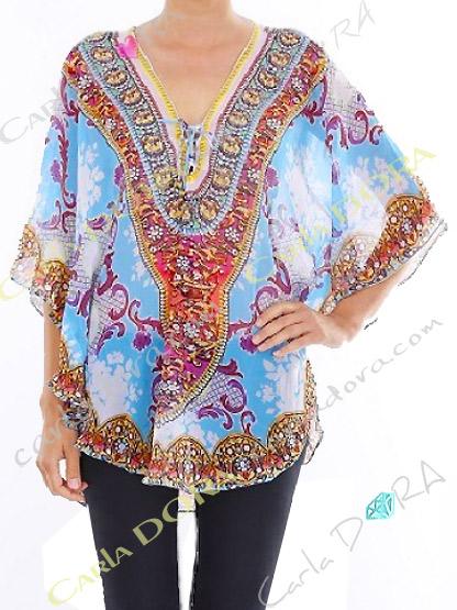 tunique femme fluide motif arabesque bas arrondi, tunique fluide tendance pour femme