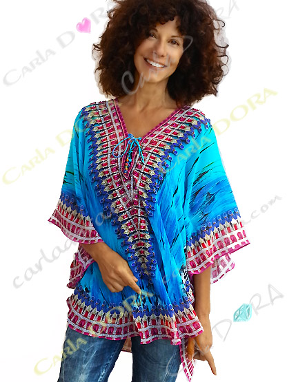 tunique femme voile motif bleu et rouge bas arrondi, top femme tunique plage a la mode
