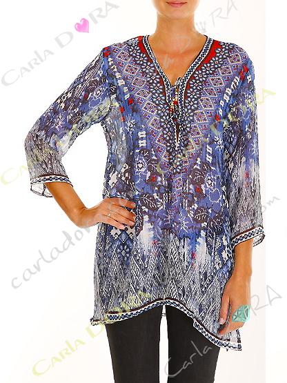 tunique femme voile motif bleu col v, top femme col v tunique plage a la mode