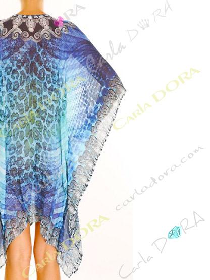 caftan long femme de plage motif bleu, tunique longue pour femme tendance
