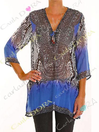 tunique femme droite voile motif bleu col v, top femme col v tunique plage a la mode