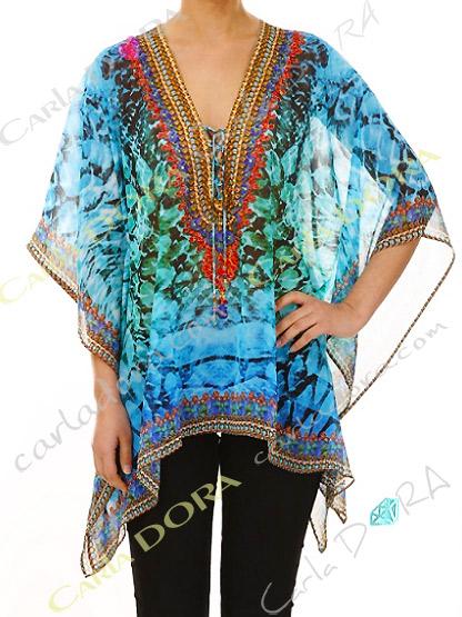tunique femme fluide graphique multicolore, top femme tunique plage a la mode