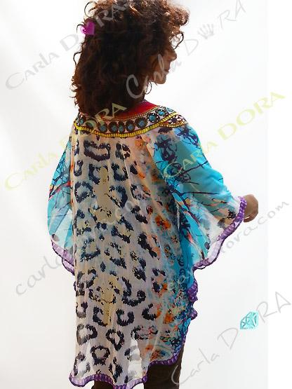 tunique femme imprimee leopard arabesque arrondi, tunique tissu fluide tendance pour femme