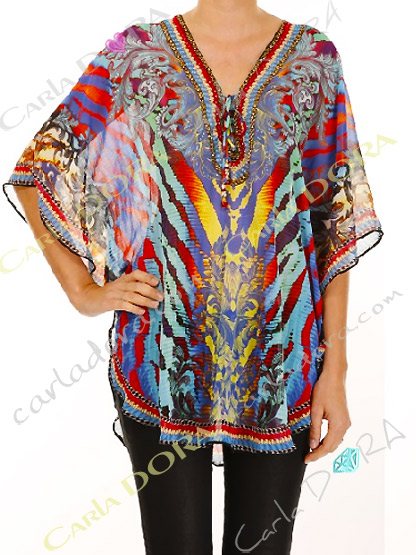 tunique femme multicolore zebree bas arrondi, tunique femme fluide
