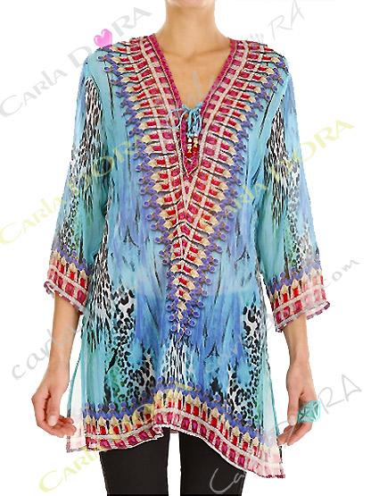 tunique femme voile motif bleu et rouge col v, top femme col v tunique plage a la mode