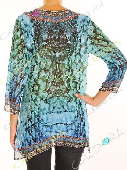 tunique femme bleu turquoise et rouge  col v, top femme col v tunique plage a la mode