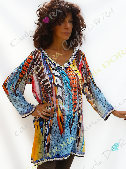 tunique femme voile amerindien plumes multicolores, top femme col v tunique plage a la mode